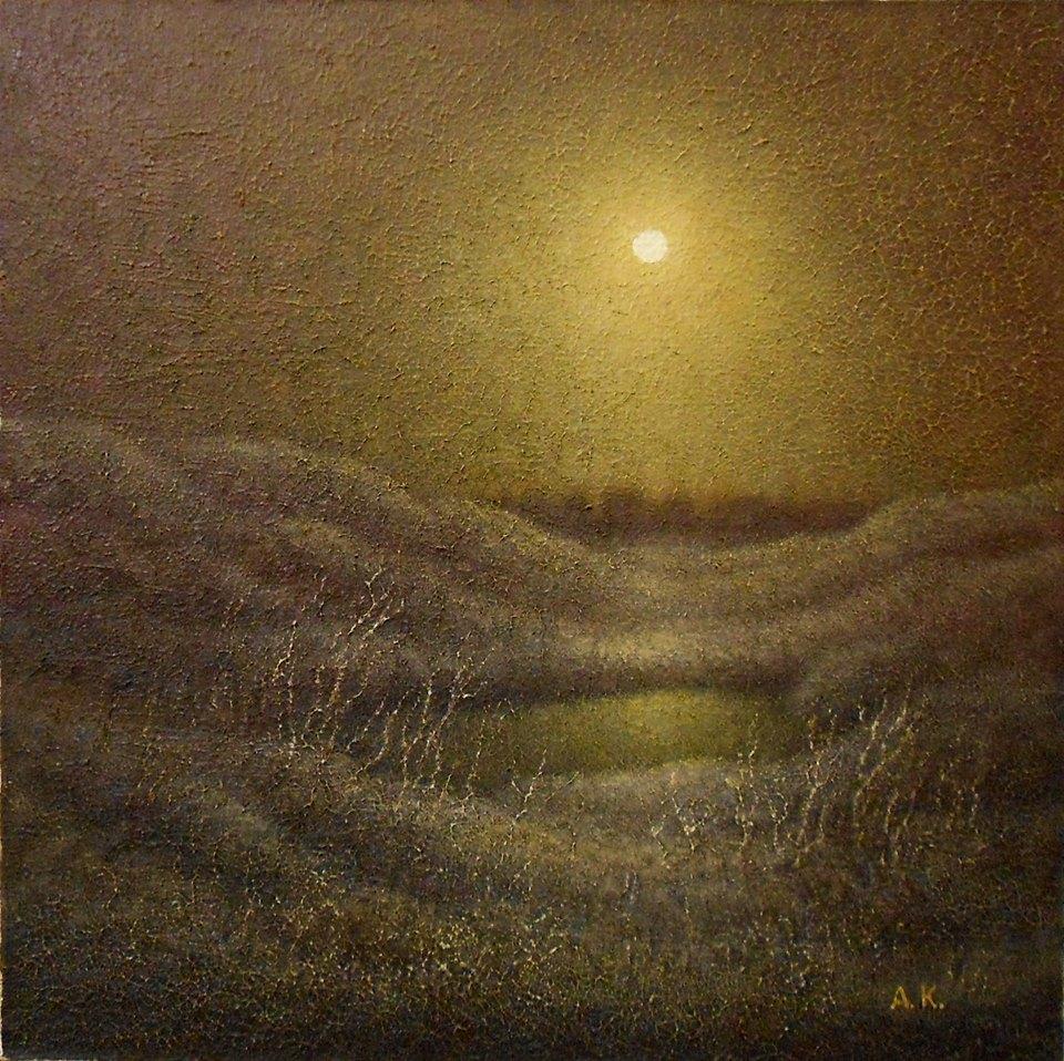 Із серії  «Ніч яка місячна». Полотно, олія. 55х55.