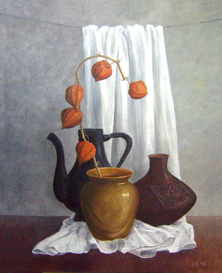 «Китайські ліхтарики» (натюрморт з фізалісом).  Полотно, олія. 58х46. 1994 р.